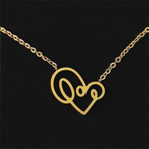 love writing necklace gold