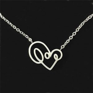 love writing necklace silver