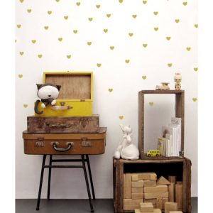 wall sticker hearts gold
