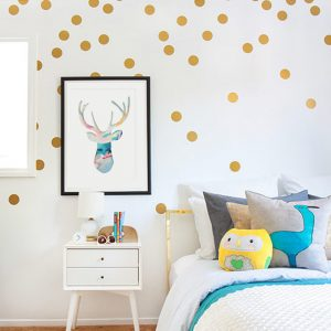 wall sticker polka dots gold