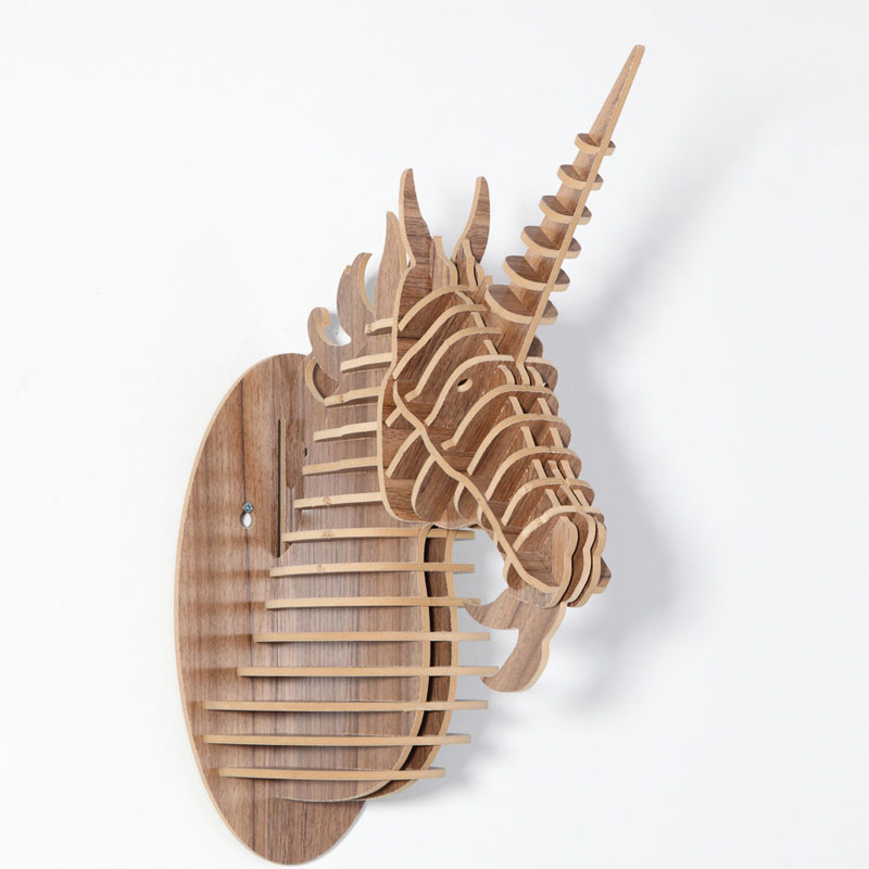 Amazing wooden 3D unicorn Head